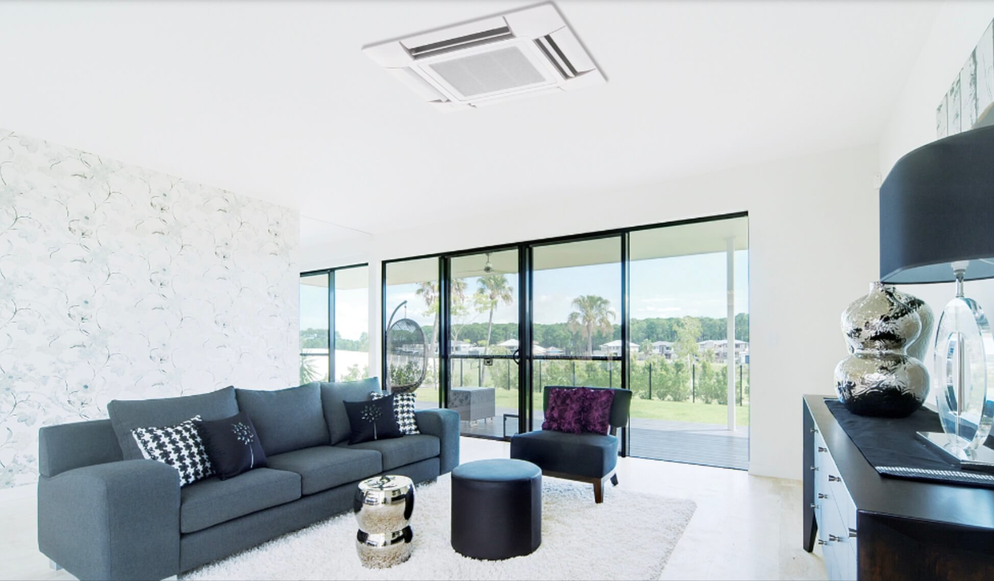 Ceiling cassette aircon unit for a beautiful country home.