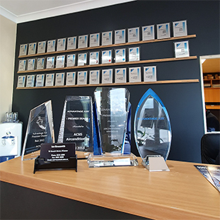 Awards and memorabilia achieved by acsis airconditioning warehouse.