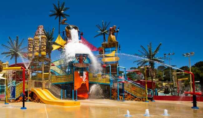 A man made waterfall at Adventure World in Western Australia.