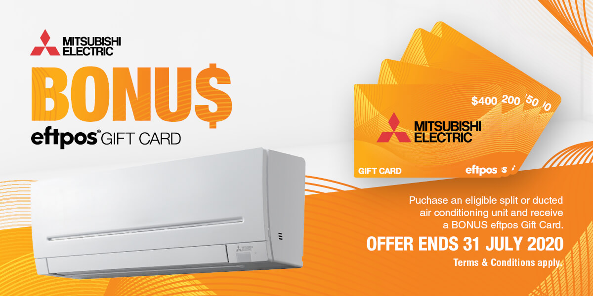 The Mitsubishi electric gift card offer.
