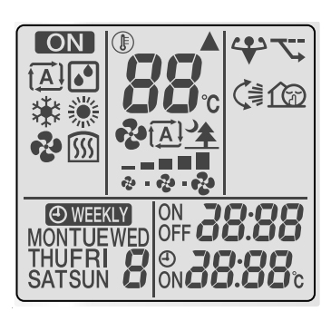 The screen symbols on a modern Daikin Airconditioning remote.