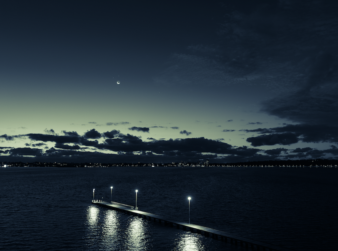Night time on a Perth jetty in Western Australia.