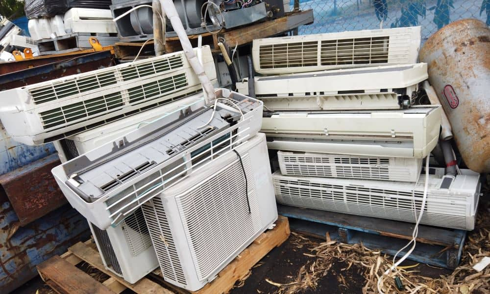 Pile of disposed air conditioners.