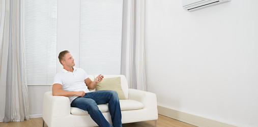 Man with split air con system